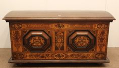 Dutch Marquetry Inlaid Marriage Coffer \ Chest