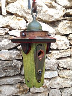 Deco Dome: A new Art Deco style birdhouse handmade at Roundhouse Works from recycled wood and metal, including a wooden newel-post finial, several brass ball lamp finials, and a brass doorknob escutcheon.