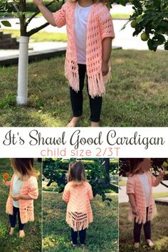 This Is The Second Published Child Size Of Theit's Shawl Good Cardigan. The entirety Of The Child Sizes Will Be Published Individually, And For Free Via Crochet Baby Shawl, Crochet Shaw, Crochet Baby Blanket Beginner, Crochet Toddler, Crochet Cardigan Pattern, Crochet Girls, Crochet For Kids, Crochet Patterns, Baby Patterns
