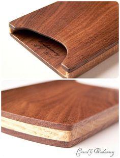 Wooden business card case handmade walnut and oak original