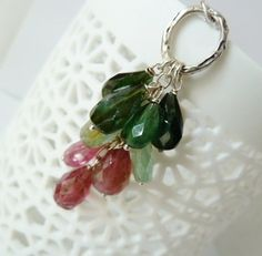 Watermelon tourmaline large faceted drops dangle by TatianaG