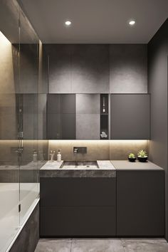 Contemporary Bathrooms, Interior S, Powder Room, Bathroom Showers, Bathroom Ideas, Mirror, Furniture, Home Decor, Washroom