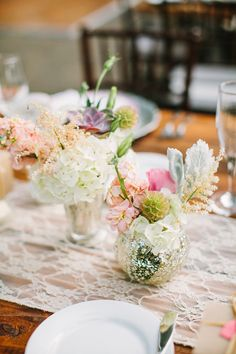 Reception at Bandy Canyon Ranch; centerpieces by Peony and Plum | Photo by Birds of a Feather