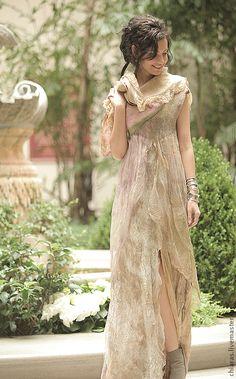 """Купить авторское платье из шелка и шерсти """"Нимфалия"""" - бледно-розовый, воздушное платье, шелковое платье"""