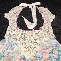 New with tag Free People tank top M New with tag Free People multicolored tank top w/ lovely lace detail Free People Tops Tank Tops