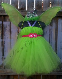 Tinkerbell Inspired Tutu Dress with Wings, Tiarra and Butterfly Wand - Any Child Size. $50.00, via Etsy.
