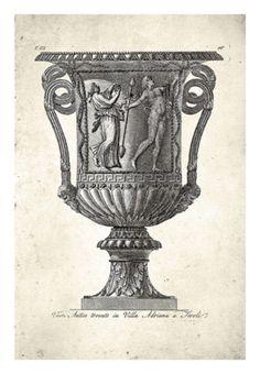 Poster Vasos (reprodução de gravura séc. 18) - 4 Variantes - Posters & Gravuras : Loja do Poster