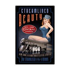 $99.97 Vintage Streamlined Beauty Metal Sign 24 x 36 Inches Inches