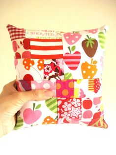 Pink Patchwork Cushion by cronopia6 on Etsy, $10.00