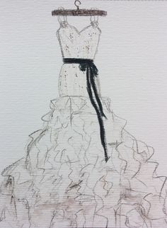 Wedding dress drawing Chanel wedding dress Custom by Myartspace, $38.00