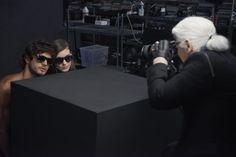 Kati Nesher, Marlon Teixeira and Karl Lagerfeld behind the scenes of the KARL LAGERFELD Eyewear 2014 campaign