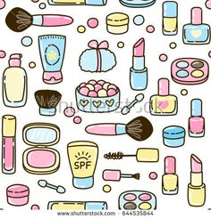 Seamless pattern with cute makeup set