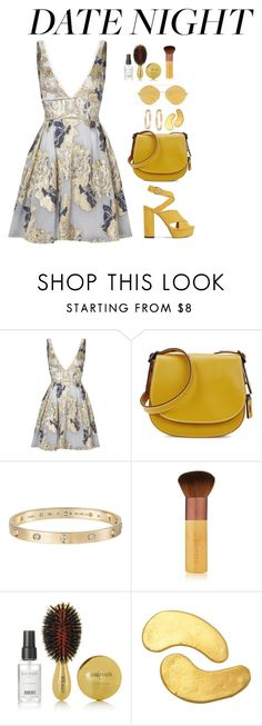 """goldy"" by danaikac ❤ liked on Polyvore featuring Notte by Marchesa, Coach 1941, Cartier, EcoTools, Balmain, MZ Skin and Mykita"