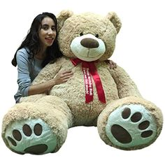 Big Plush Giant Teddy Bear 5 Feet Tall - Custom Personalized Your Name or Message Imprinted on Bear's Neck Ribbon Bow - Tan Color with Bigfoot Paws Giant Stuffed Animal Bear ** Check out the image by visiting the link. (This is an affiliate link) #StuffedAnimalsTeddyBears