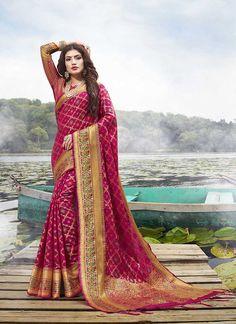 Sareetag Pink Latest festive Wear Designer Jacquard Silk Saree – SareeTag