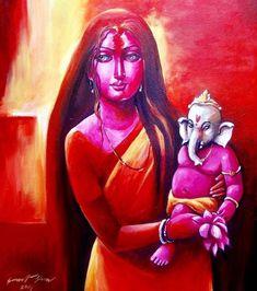 Buy Ganesha Janani by Sarat Shaw@ Rs. - Shop Art Paintings online in India. Ganesha Painting, Ganesha Art, Madhubani Painting, Lord Ganesha, Religious Paintings, Indian Art Paintings, Modern Art Paintings, Buy Paintings Online, Online Painting