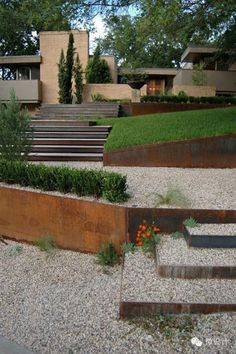 creative landscape architecture different levels metal retaining walls and stair. - creative landscape architecture different levels metal retaining walls and stairs - Landscaping Austin, Modern Landscaping, Front Yard Landscaping, Landscaping Ideas, Backyard Ideas, Terraced Landscaping, Terraced Garden, Landscaping Melbourne, Commercial Landscaping