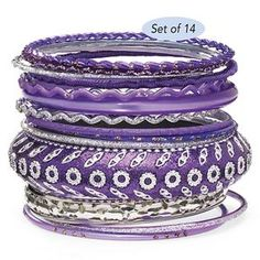 Set of 14 Purple Bangles - Gifts for Life's Special Moments – Personalized, Humorous & Collectible