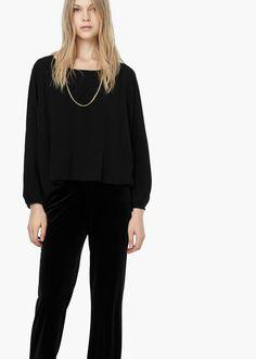Flowy blouse - Pants for Women   MANGO
