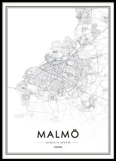 Malmö, poster in the group Posters & Prints at Desenio AB City Map Poster, World Map Poster, Map Posters, Black And White Posters, Black And White Pictures, Map Painting, City Maps, Buy Prints, Art Pictures