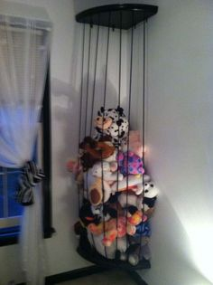 Attractive Or Just Attach To Ceiling And Floor ~~~ Brilliant Idea For Stuffed Animal  Storage