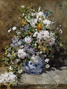SEG de Paris Needlepoint - Large Canvases - Le Bouquet by Pierre-Auguste Renoir Pierre Auguste Renoir, August Renoir, Spring Bouquet, Canvas Designs, Arte Pop, Claude Monet, Love Painting, Botanical Art, Art World