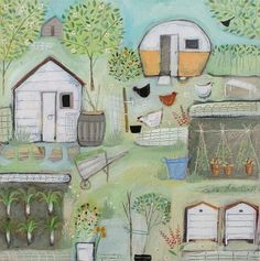 Louise RAWLINGS-Four Hens