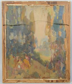 Lot Fred Carpenter o/c, Lady in Garden Fruit Picking, Painted Boards, Unusual Art, Carpenter, St Louis, Antiques, Green, Artist, Image