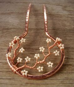 Copper hair fork -(Turn the forks under for a pretty pendant or close the circle and solder to a bangle for a pretty bracelet)