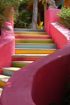 You'll find the private and very exclusive resort Las Alamandas in Mexico, which boasts six villas suites) that welcomes only 30 people at a time. Outdoor Steps, Costa, Earthship, Tropical Garden, Terrazzo, Stairways, House Colors, Color Inspiration, Outdoor Living