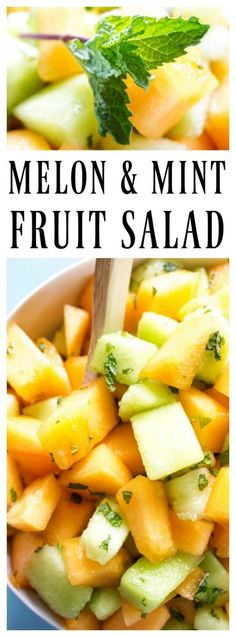 A perfect addition to your summer table this Melon & Mint Fruit Salad is simple & exquisite. The subtle mint flavor with the honey glaze creates the perfect balance to the sweetness of the melons. Healthy Salad Recipes, Fruit Recipes, Summer Recipes, Healthy Snacks, Vegan Recipes, Healthy Eating, Recipies, Best Side Dishes, Side Dish Recipes