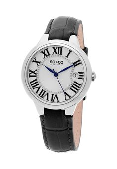 SO&CO New York Ceas negru cu model crocodil Madison - eMAG. Brown Leather Strap Watch, Black Leather, Best Watch Brands, Gold And Silver Bracelets, Online Watch Store, High End Fashion, Stainless Steel Bracelet, Cool Watches, Quartz Watch