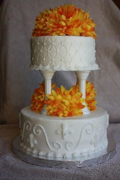 wedding cakes with columns 4 tier fall fondant wedding cake airbrushed with 26007