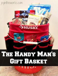 Looking for the perfect gift for Father's Day or Christmas for your husband, dad or any other handy person in your life? Make this simple Handy Man Gift Basket filled man snacks! This Home Depot Orange Bucket with liner filled with snacks is perfect for the man who has everything! #diygift #mangift #dadgift #handymangift #homedepotgift #giftsforhim #giftbasket