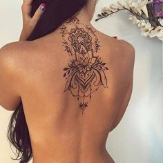 Black and grey backpiece.  #tattoos #inkedgirls #tattooedwomen #inked