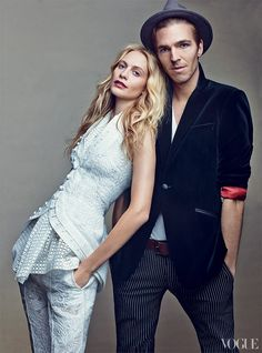 POPPY DELEVINGNE AND JAMES COOK - On Delevingne: Vera Wang lace jacquard sleeveless jacket ($1,195), cotton eyelet top ($695), and trousers ($850); Vera Wang, NYC. On Cook: Phineas Cole blazer. In this story: Hair: James PecisMakeup: Aaron de MeyProduced by: Kate Collings-Post for North SixSet design: Piers Hanmer for Art + CommerceShot on location at 5 Beekman, NYC