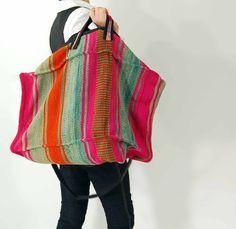 Vtg 80s extra large southwestern rug duffel bag//short long handles. $129.00, via Etsy.