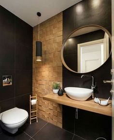 Bathroom Design Black Vanities Ideas For 2019 Bathroom Design Luxury, Modern Bathroom Design, Modern Interior Design, Bath Design, Bathroom Wall Decor, Bathroom Furniture, Small Bathroom, Bathroom Ideas, Furniture Vanity