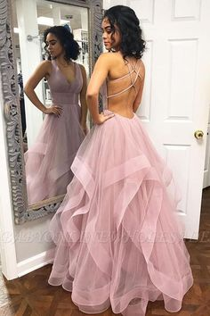 A-Line Sexy Pink Halter Ruffle Sleeveless Prom Dresses | Babyonlinewholesale