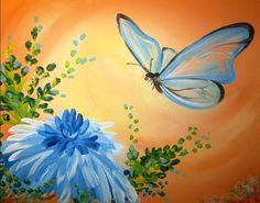 Blue butterfly and flower painting. Wine and Canvas Butterfly Painting, Butterfly Art, Butterflies, Art Floral, Art Papillon, Wine And Canvas, Guache, Diy Canvas Art, Canvas Ideas