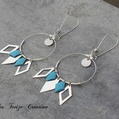 Bijou créateur - boucles d'oreilles créoles dormeuses argentées antiques breloques losanges et sequins émaillés bleu turquoise