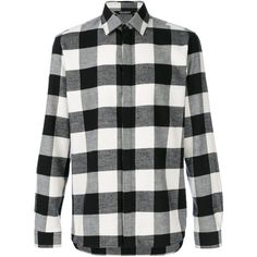 Neil Barrett checked flannel shirt ($285) ❤ liked on Polyvore featuring men's fashion, men's clothing, men's shirts, men's casual shirts, shirts, flannel, tops, black, mens flannel shirts and mens casual long sleeve shirts