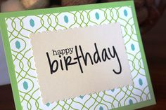 Handmade Birthday Card/Happy Birthday/Vintage Look/Turquoise Blue and Green/Modern Pattern/Blank Inside/Free Shipping by TresorValeur on Etsy