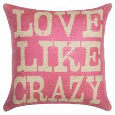 "Handmade burlap pillow with a typographic motif. Made in the USA.  Product: PillowConstruction Material: Burlap coverColor: PinkFeatures:  Handmade by TheWatsonShopZipper EnclosureMade in the USA Insert includedDimensions: 16"" x 16"""