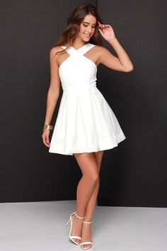 White prom dress, simple prom dresses, lace prom dresses, simple prom dress, Sweet 16 dress by Hot Lady - Homecoming Dresses Simple Homecoming Dresses, Simple Prom Dress, Hoco Dresses, Trendy Dresses, Cute Dresses, Casual Dresses, Summer Dresses, White Graduation Dresses, 8th Grade Graduation Dresses