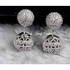 """""""Simone"""" Pave' Cubic Zirconia Diamond Double Ball Studs.Vintage Deco Stud Earrings FiligreeDesign. Stud Can Be Worn Alone or with the Back Earring.   Pave FacetedCz Diamonds 18k Vermeil over Copper   