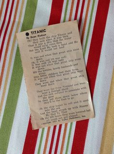 Vintage 1950's Poem Written About The Titanic Written By Dean Hudson by LakesideVintageShop on Etsy
