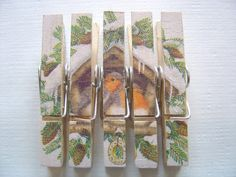 Decoupage Clothespin Magnets Memo Magnets by LittleGemsJewells, £3.95