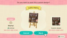 animal crossing new horizons qr code - animals Animal Crossing Coffee, Animal Crossing Game, Cafe Sign, Cafe Menu, Mint Color Schemes, Motif Acnl, Motifs Animal, Animal Crossing Qr Codes Clothes, Animal Games