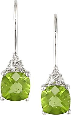 10k White Gold Peridot and Accent Diamond Earrings (0.03 Cttw, G-H Color, I2-I3 Clarity) Amour